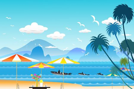 Vector illustration seascape background travel over sea with umbrella and whale family in water wave between archipelago with fishes and the bird flying in sky cloud background at summer time.