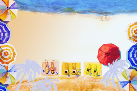 Painting watercolor seascape Top view colorful of lovers, family summer holiday and tourism in summery,multi colored umbrella, sea white blue background, with cocoanut tree, abstract illustration. Stock Photo