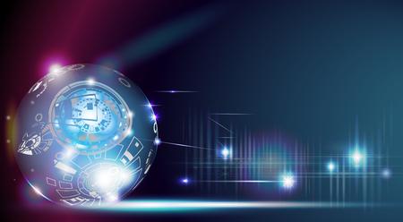 De technologie van de digitale wereld is nooit opgehouden te bestaan. in een donkerblauwe achtergrond van ruimte en verbeelding tot tijdmachine in de toekomst. Abstracte ruimteachtergrond met 3D digitaal lichteffect. Vector Illustratie