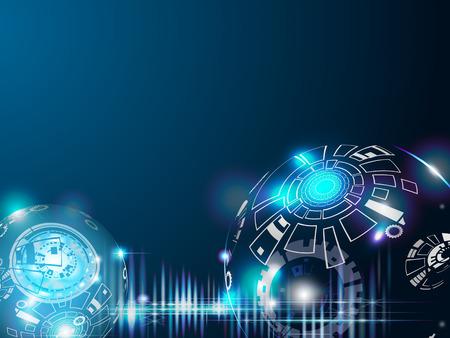 Vectorillustratietechnologie van lijnen en kleuren op donkerblauwe achtergrond van ruimte en verbeelding aan tijdmachine in de toekomst. Abstracte ruimteachtergrond met 3D digitaal lichteffect.