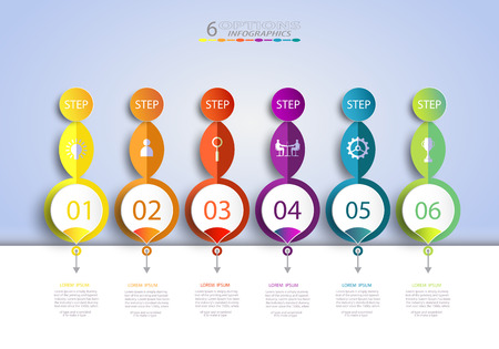 Abstract infographics number template with 3D and 6 options or step business concept. Illustration