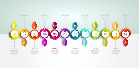 Infographics timeline template with 3D and 12 options or step business concept.