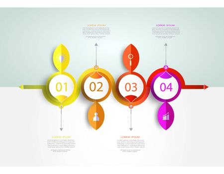 Infographics timeline template with 3D and 4 options or step business concept.