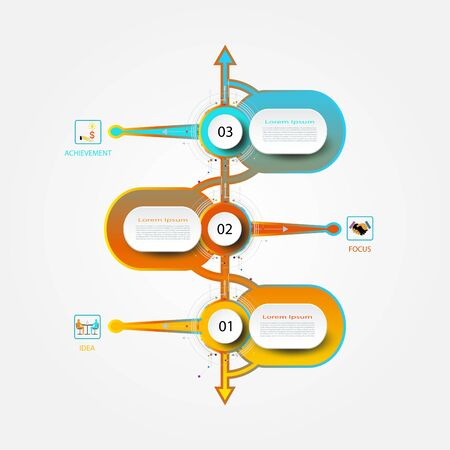 Infographics timeline template with 3D and 3 options or step, Business concept Vector illustration.  イラスト・ベクター素材