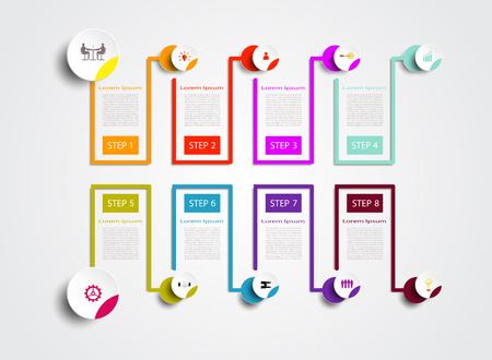 Zeitleiste der Infografiken-Nummernvorlage mit 3D und Symbol mit 8 Schritten, Geschäftskonzept, Leerzeichen für Inhalt, Geschäft, Infografik, Diagramm, Prozess, Vorlage, Zeitleiste, Abdeckung, Element, Option, Info