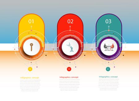 Plantilla de línea de tiempo de infografía con 3D y 3 opciones o paso, concepto de negocio, espacio en blanco para contenido, negocios, gráfico, diagrama, proceso, placa, línea de tiempo, portada del libro, diagrama de flujo, información, paso, impresión