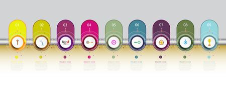 Infografiken Timeline-Vorlage mit 3D und 9 Optionen oder Schritt, Geschäftskonzept, Leerraum für Inhalt, Geschäft, Grafik, Diagramm, Prozess, Platte, Zeitleiste, Buchcover, Flussdiagramm, Info, Schritt, Druck