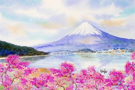 Mount Fuji and sakura cherry blossom at Lake kawaguchiko in Japan spring season. Watercolor painting landscape illustration. Popular famous landmark in the Asia Stock Photo