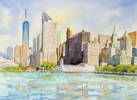 Manhattan urban skyscrapers in New York City. Architecture line skyline illustration. Watercolor painting cityscape in the morning summer and famous landmarks, business city, Hand painted illustration Stock Photo