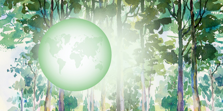 Environmental concept. Tree forming the world globe in forest. Watercolor painting colorful of garden trees and World map with nature green on white background. Painted Impressionist, illustration.