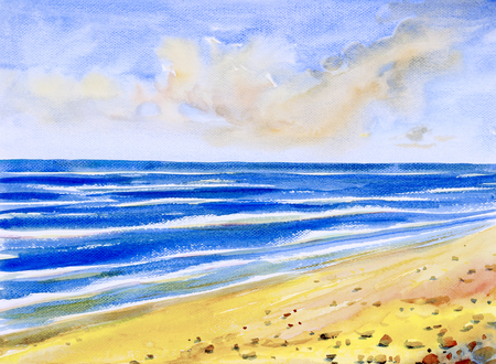 Watercolor seascape original painting colorful of sea view, beach, wave and skyline, cloud background in the morning bright, nature beauty season. Painted impressionist, abstract images.