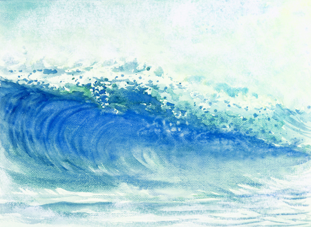 Watercolor painting big sea wave of storm waves in the sea, background emotions are sprayed in the sky. Hand painted illustration, Impressionist modern. Stock Photo