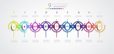 Progettazione di timeline di infografica vettoriale con icone e 9 passaggi di opzioni, concetto di business. Spazio vuoto per contenuto, affari, infografica, diagramma, processo, diagramma, modello, elemento, rete, diagramma di flusso Vettoriali