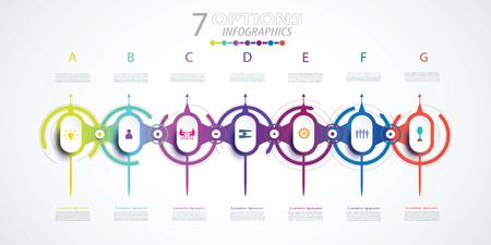 Diseño de línea de tiempo de infografías con iconos y 7 opciones o pasos, concepto de negocio. Espacio en blanco para contenido, negocios, infografía, diagrama, proceso, plantilla, elemento, gráfico, red digital, impresión