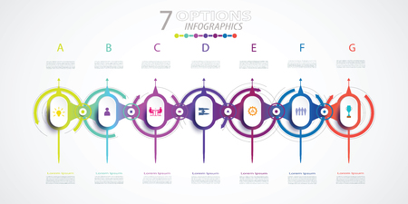 Infographics timeline design with icons and 7 options or steps,Business concept. Blank space for content, business, infographic,diagram, process, templlate, element, chart, digital network, printing