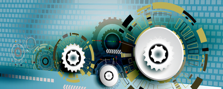 Abstract technology gear wheel engineering on square background, Vector illustration perspective digital innovation design colorful on circuit board and digital tech communication telecom concept.