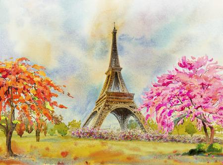 Berühmtes Wahrzeichen der Pariser europäischen Stadt der Welt. Frankreich Eiffelturm und Blume rosa, rote Farbe, Kirschblüte im Garten, mit Frühlingssaison, moderne Kunst Aquarellmalerei Illustration, Kopienraum