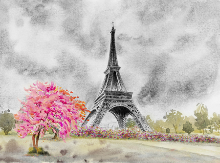 Paris european city famous landmark of the world. France eiffel tower and flower pink, red color, cherry blossom in garden, with spring season, Modern art  Watercolor painting illustration, copy space 写真素材