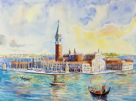 Beautiful sea view of traditional San Giorgio Maggiore island. Venice Italy with historic gondola view. Watercolor landscape original painting multicolored on paper, illustration landmark of the world