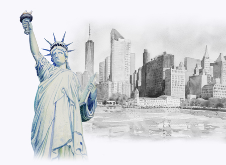 Statue Liberty Architecture in Manhattan urban skyscrapers in New York City. Watercolor painting cityscape in the famous landmarks of world, business city, Hand painted illustration, copy space Stock Photo