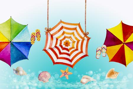 Paraguas multicolor, pintura acuarela Vista superior colorida de verano, vacaciones y turismo negocio mar, balneario, textura, fondo, Ilustración abstracta pintada a mano, espacio de copia