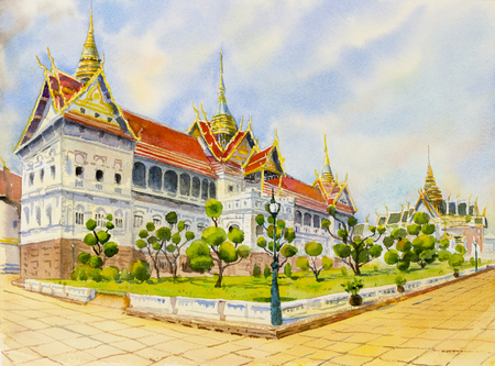 Royal grand palace in Bangkok, Thailand.  Watercolor painting landscape of visit tourism location beautiful summer holiday in skyline background. Hand paint illustration, landmark of Asia. Stock Photo