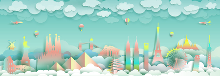 Travel with landmarks top of the world famous monuments countries for France, England,Spain, Italy, Egypt, America, Europe and Asia with paper cut and  gradient style for travel poster and postcard.