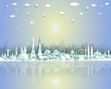 Hitos del mundo con fondo de ciudad y paisaje marino, viaje alrededor del mundo a Francia, Inglaterra, España, Italia, Egipto, América, Europa y Asia con corte de papel y estilo para póster de viaje y postal. Ilustración de vector