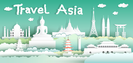 Landmarks of the world with city and tourism asia background, Travel around the world to Japan, China, Thailand, Malaysia, Asia with paper cut with style for travel poster and postcard.