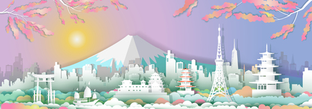 Traveling go to japan with sailboat, Landmarks of asia with architecture culture city and tourism, Travel in Asia with paper cut origami style for travel poster and postcard, vector illustration