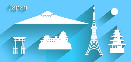 Japan icon or symbol with long shadow, Travel banner with tokyo tower and fuji mountain,   Chureito Pagoda, Himeji castle all in silhouette style on blue background, vector illustration Illustration