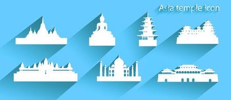 Asia icon or symbol with long shadow, Travel banner Taj mahal, Himeji Castle  and iconic modern building merlion all in silhouette style on blue background, Modern design by vector illustration