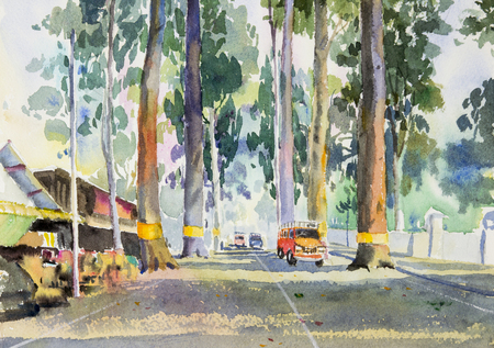 Watercolor landscape original painting colorful of Tunnel trees and car on street countryside and emotion in rural society, nature beauty background. Hand painted illustration in chiang mai Thailand.