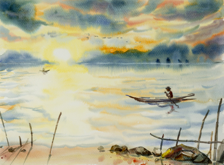 Fishing man sailing on the lake. Watercolor seascape original painting colorful of fishing boat and emotion in sunshine and cloud bottom background. Sunrise in early morning with bird flying on sky Stock Photo