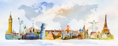 Viaggi e attrazioni del mondo. Monumenti famosi del mondo raggruppati insieme. Acquerello dipinto a mano illustrazione su sfondo mappa del mondo. Archivio Fotografico