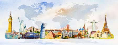 World travel and sights. Famous landmarks of the world grouped together. Watercolor hand drawn painting illustration on world map background. Banco de Imagens