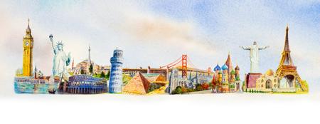 Viajes y lugares de interés mundial. Hitos famosos del mundo agrupados. Ilustración de pintura de acuarela dibujada a mano sobre fondo de mapa del mundo.