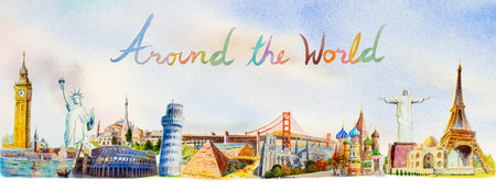 World travel and sights. Famous landmarks of the world grouped together. Watercolor hand drawn painting illustration on world map background. Stock Photo