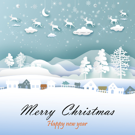 Merry Christmas and Happy New Year, Paper art and landscape crafts with rein deer, Mountain and cloud beauty used for printing on book cover, banner, magazine, greeting card, vector illustration.