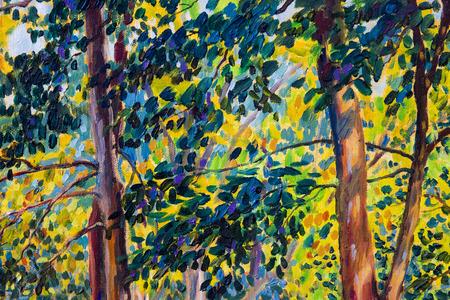 Paisaje de pintura al óleo sobre lienzo - coloridos árboles de otoño. Imagen semi abstracta de bosque, árboles con hoja amarilla. Fondo de naturaleza de temporada de otoño. Estilo impresionista pintado a mano