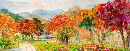 Autumn trees. Painting watercolor landscape red, orange and yellow color