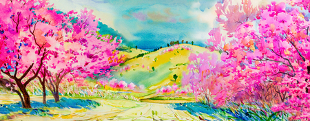Painting watercolor landscape pink colors of Wild himalayan cherry flowers and home, mountain hill in the spring season. Hand painted, blue sky, cloud background, beauty nature, winter season.