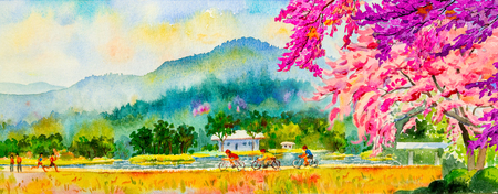 Painting watercolor landscape pink color of Wild himalayan cherry flowers and man, woman, cycling, fitness in the spring season. Hand painted, blue sky, cloud background, beauty nature, winter season.
