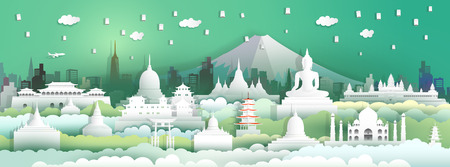 Landmarks of the world with festival in city and tourism asia background, Travel around the world to Japan, China, Thailand, india, Asia with paper cut with style for travel poster and postcard.