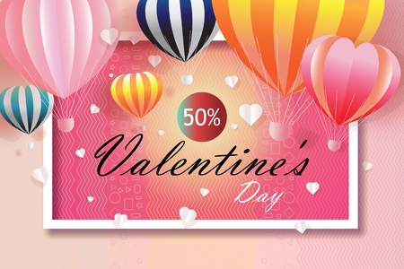 Valentines day business happy sale background with Heart and Balloons Shaped. Vector illustration for wallpaper, flyers, business, posters, brochure, banner, invitation, card, paper cut origami style.