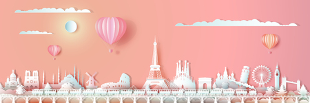 Podróżując po Europie zabytki świata z pociągiem i balonem, Podróżuj po świecie z panoramicznym pejzażem miejskim, Popularna stolica, Styl cięcia papieru origami na walentynki z podróży pocztówki, ilustracji wektorowych. Ilustracje wektorowe