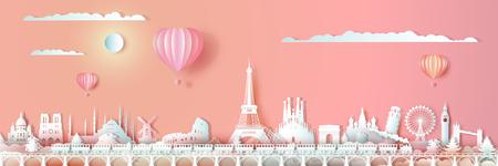 Viaggiare in Europa punti di riferimento del mondo con treno e ballon, viaggiare in tutto il mondo con paesaggio urbano panoramico, capitale popolare, stile origami carta tagliata per San Valentino cartolina di viaggio, illustrazione vettoriale. Vettoriali