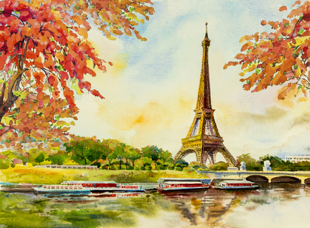 Paris european city landscape. France, eiffel tower famous, with romantic the Seine river view in autumn, Watercolor painting illustration, skyline background. world landmark Stock Photo