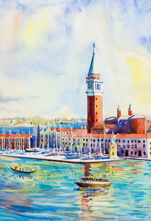 Beautiful sea view of traditional San Giorgio Maggiore island, Venice, Italy with historic view Italy, Watercolor landscape original painting multicolored on paper, illustration landmark of the world.