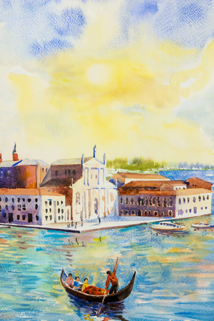 Gondola sea view of traditional San Giorgio Maggiore island, Venice, Italy with historic view Italy, Watercolor landscape original painting multicolored on paper, illustration landmark of the world.